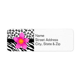 Black & White Zebra & Cheetah Skin & Pink Flower Label