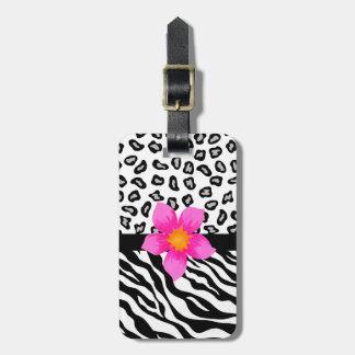Black & White Zebra & Cheetah Skin & Pink Flower Luggage Tag