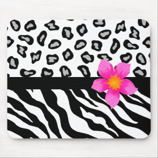 Black & White Zebra & Cheetah Skin & Pink Flower Mouse Pad