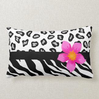Black & White Zebra & Cheetah Skin & Pink Flower Pillow