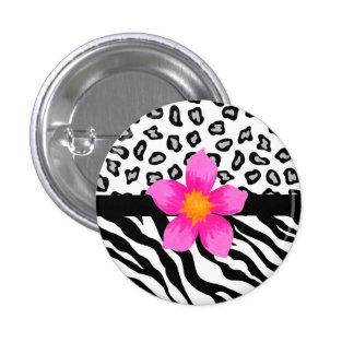 Black & White Zebra & Cheetah Skin & Pink Flower Pinback Button