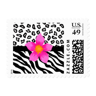 Black & White Zebra & Cheetah Skin & Pink Flower Postage