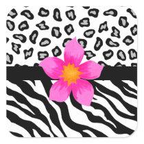 Black & White Zebra & Cheetah Skin & Pink Flower Square Sticker