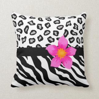 Black & White Zebra & Cheetah Skin & Pink Flower Throw Pillow