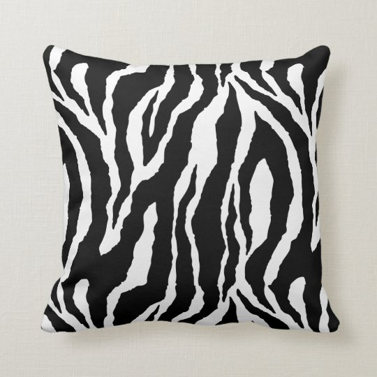 Black White Zebra Design Pillow
