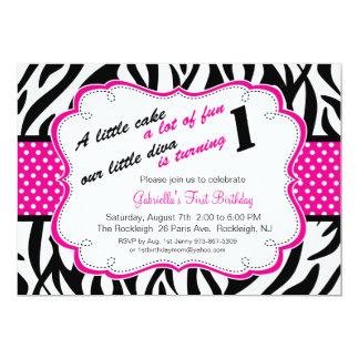 Black & White Zebra Girls First Birthday Invite