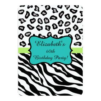 Black White Zebra Leopard Skin 60th Birthday Party Card