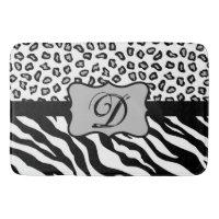Black White Zebra Leopard Skin Monogram Bathroom Mat