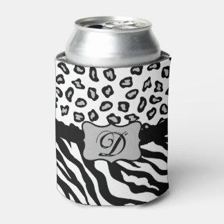 Black White Zebra Leopard Skin Monogram Can Cooler
