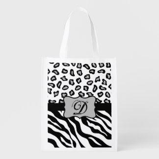 Black White Zebra Leopard Skin Monogram Grocery Bag