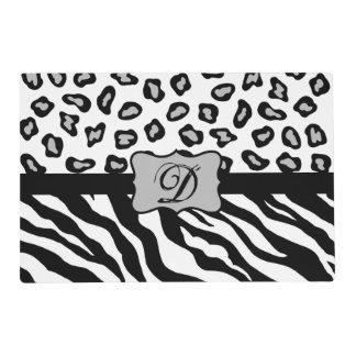 Black White Zebra Leopard Skin Monogram Laminated Placemat