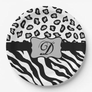 Black White Zebra Leopard Skin Monogram Paper Plate