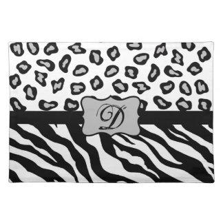 Black White Zebra Leopard Skin Monogram Cloth Placemat