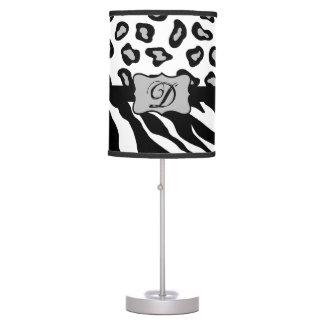 Black White Zebra Leopard Skin Monogram Table Lamp