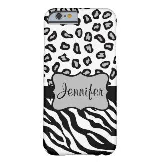 Black White Zebra Leopard Skin Name Personalized Barely There iPhone 6 Case