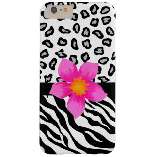 Black White Zebra Leopard Skin with Pink Flower Barely There iPhone 6 Plus Case
