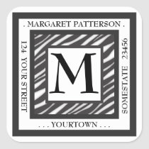 Black & White Zebra Monogram Square Address Label