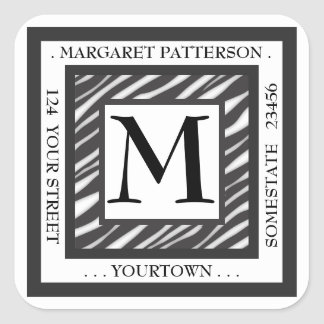 Black & White Zebra Monogram Square Address Label