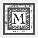 Black & White Zebra Monogram Square Address Label Square Sticker