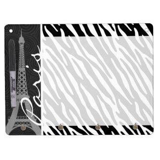 Black & White Zebra; Paris Dry Erase Board With Keychain Holder