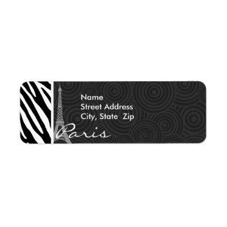 Black & White Zebra; Paris Return Address Label