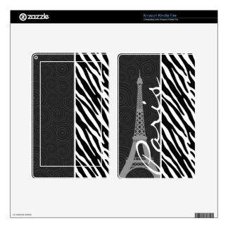 Black & White Zebra; Paris Skins For Kindle Fire