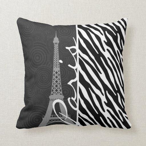 Black And White Zebra Throw Pillows : Black & White Zebra; Paris Throw Pillows Zazzle
