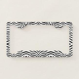 Black& White Zebra Pattern License Plate Frame