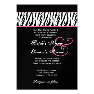 Black White Zebra Pink Accents Wedding Metallic Custom Announcement
