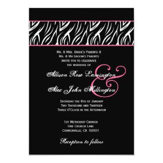 Black White Zebra Pink Accents Wedding Z002 Card
