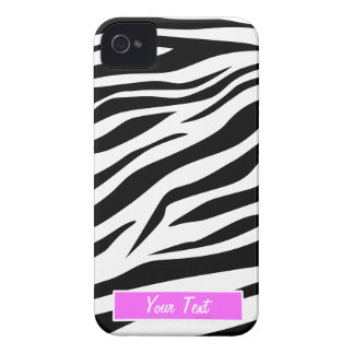 Black/White Zebra Print - Personalize iPhone 4 Case