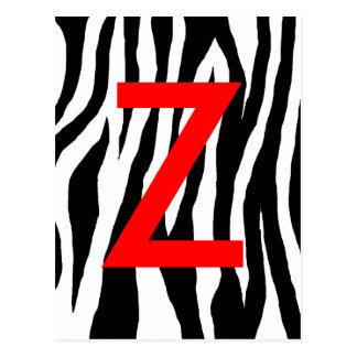 Black & White Zebra Print Post Card