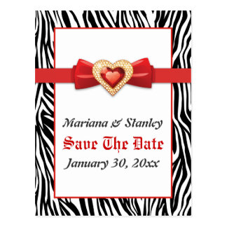 Black white zebra print, red jewel Save the Date Postcard