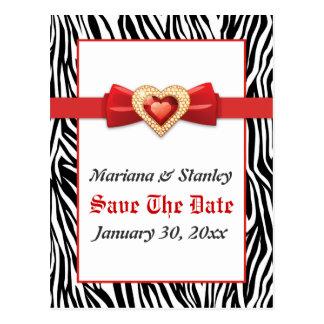 Black white zebra print, red jewel Save the Date Postcard
