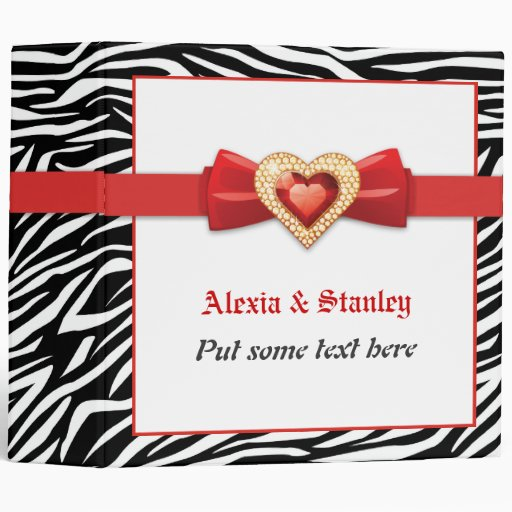Black white zebra print, red jewel wedding planner vinyl binder