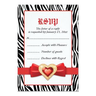 Black white zebra print & red jewel wedding RSVP Card