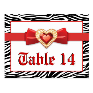 Black white zebra print, red wedding table number postcard