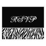 Black White Zebra Print RSVP Wedding Response Card Invite