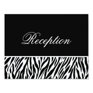 "Black White Zebra Print Template Reception Cards 4.25"" X 5.5"" Invitation Card"