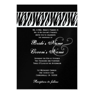 Black White Zebra Print Wedding Metallic Template 5x7 Paper Invitation Card