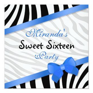 Black white zebra, printed blue ribbon  Sweet 16 Invite