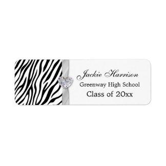 Black white zebra ribbon, heart Graduation Return Address Label
