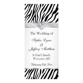 Black white zebra, ribbon, jewel Wedding Program Customized Rack Card