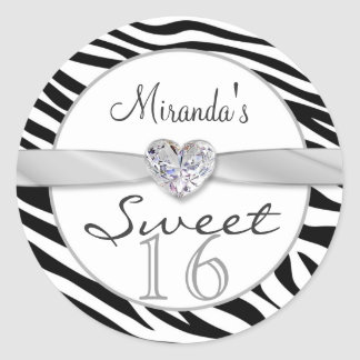 Black white zebra, ribbon Sweet 16 Sticker
