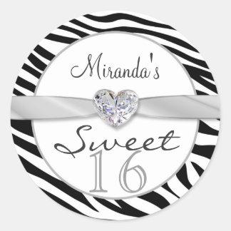 Black white zebra ribbon Sweet 16 Sticker Stickers