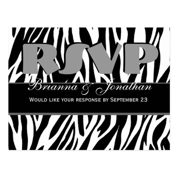 Black White Zebra RSVP Wedding Response Postcard