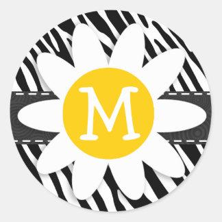 Black & White Zebra; Spring Daisy Classic Round Sticker