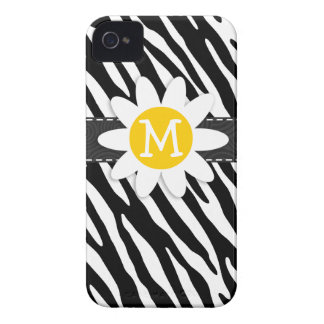 Black & White Zebra; Spring Daisy iPhone 4 Case-Mate Case