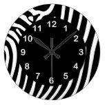 Black White Zebra Stripe Animal Print Round Clock