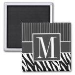 Black & White Zebra Stripes 2 Inch Square Magnet